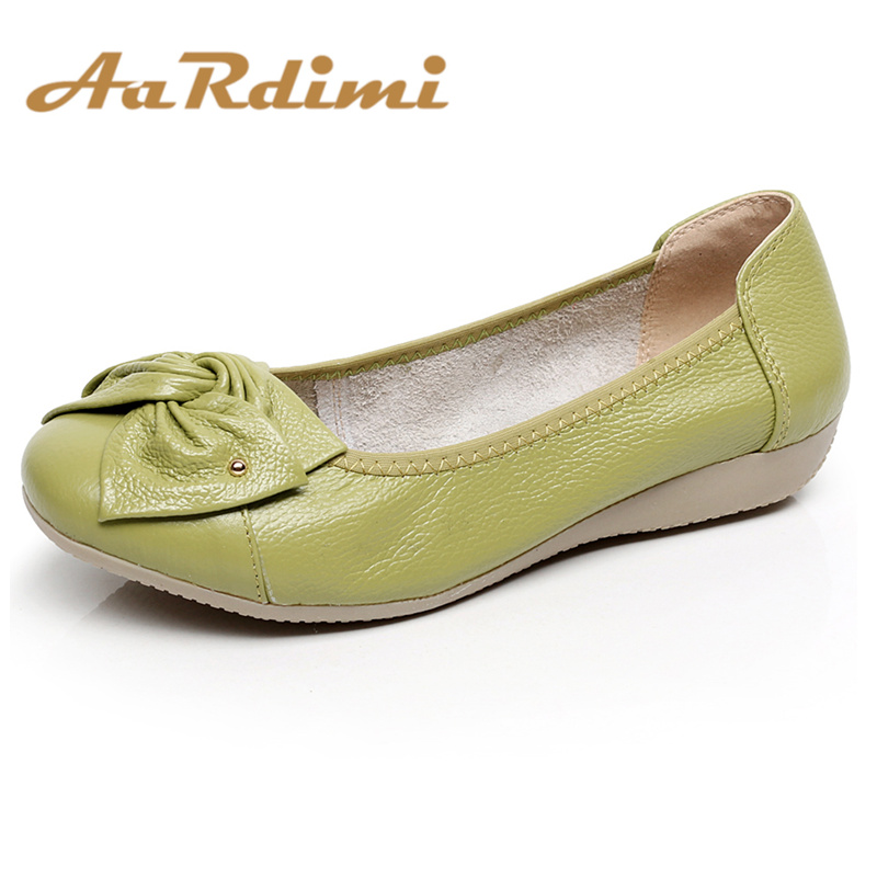 AARDIMI Classic Genuine Leather Shoes Women Spring Loafers Ballet Flats Shoes Women Casual Flat Ballerina Shoes Mocassin Femme(China)