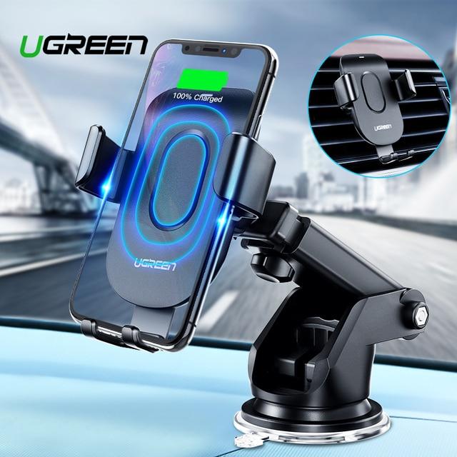 Cargador inalámbrico para coche Ugreen Qi para iPhone X XS 8 Samsung S9 cargador de teléfono móvil carga rápida inalámbrica para teléfono de coche soporte
