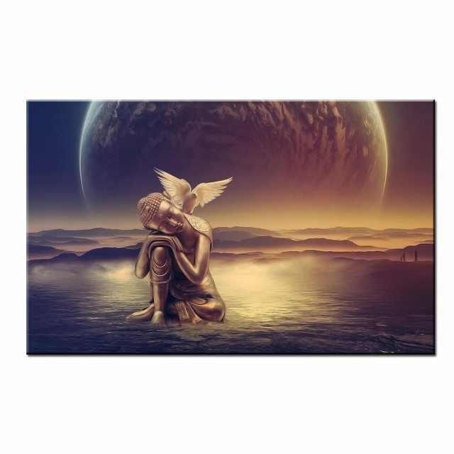 Canvas Art Print Buddha And Bird Sea Sunrise View Canvas Printing