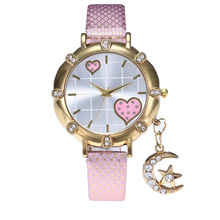 2019 Fashion Wrist Watches Lady Moon Star Charm Diamond Watch Women Snakeskin PU Gold Buckle Clock Rhinestone for