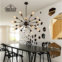Large Wrought Iron Pendant Lights Vintage Industrial Lighting Modern Ceiling Fixture Hotel Bar Kitchen LED Pendant Ceiling Lamp