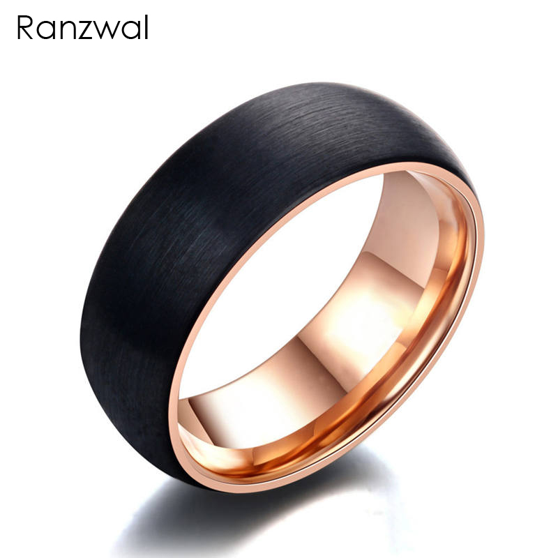 Ranzwal 8mm Tungsten Steel Rings for Men Black Carbide Ring Women Jewelry US SIZE 7~12 MRI017