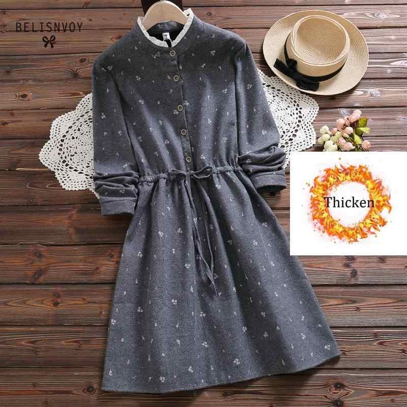 2019 винтажное зимнее теплое женское платье с принтом кота бархатное с длинным рукавом повседневное милое элегантное платье женские платья vestidos mujer