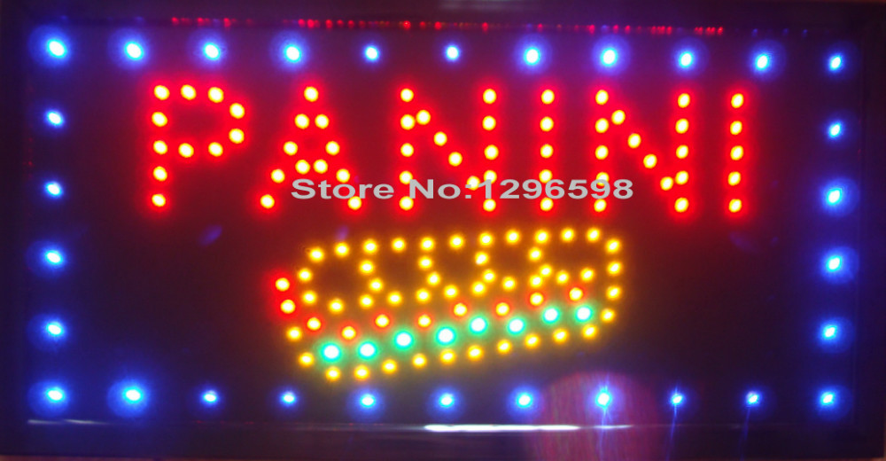 2017 Led panini open store neon lighted sign direct selling custom graphics 10X19 inch indoor Ultra Bright