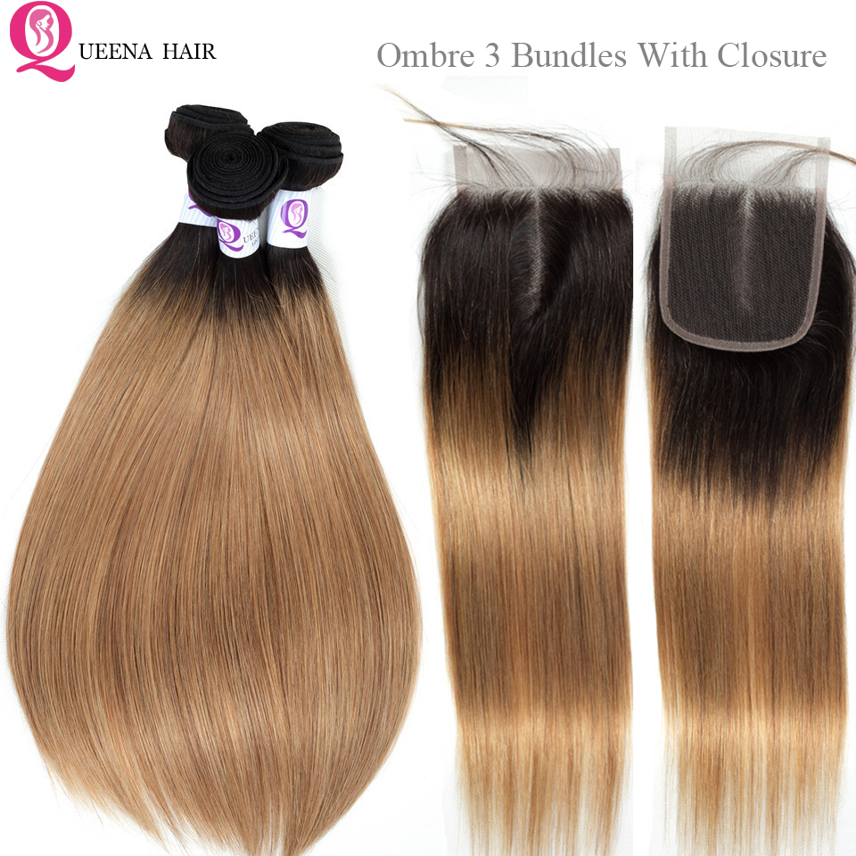 Malaysian Ombre Straight Hair Bundles With Closure With Baby Hair1B/27 Ombre Honey Blonde Bundles With Closure Remy Human Hair