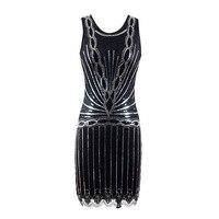 1920s Vintage Gatsby Dress Women Summer Flapper Sequin Club Retro Bodycon Party Short Sundress Clothing Robe Femme