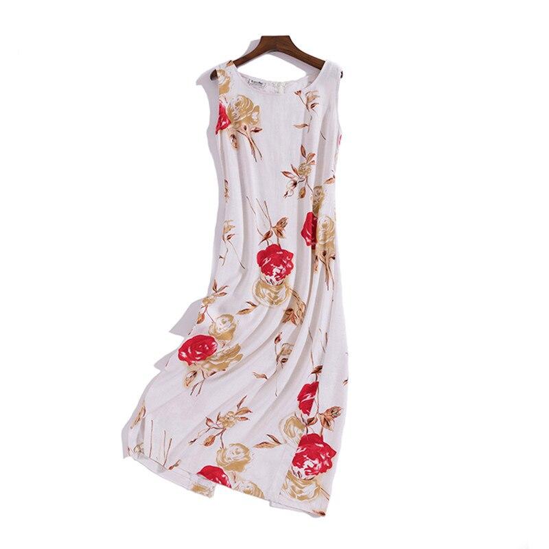 Women Summer Linen Dress Floral Print Sleeveless O neck Boho Ladies Casual Linen Long Dress Beach Dresses for Holidays Vestidos