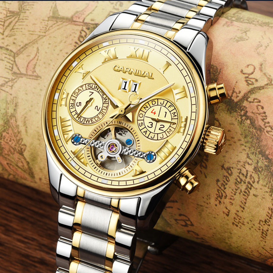 Luxury Men Sports Mechanical Tourbillon Watch Men Fashion Business Automatic Watches Full Stainless Steel Waterproof Wrist watch tevise fashion auto date automatic self wind watches stainless steel luxury gold black watch men mechanical t629a with tool