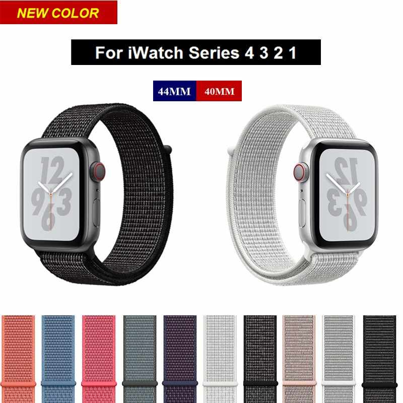 low priced 8f493 85cc9 Black Sport Loop Nylon Watch Band for Apple Watch Series 4 44MM 40MM  Outdoor Replacement Wrist Strap for iWatch 3 2 1 Bracelet