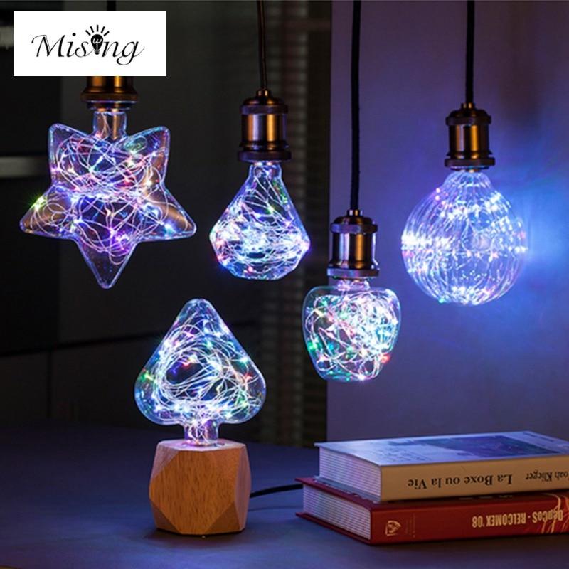 Mising E27 3W RGB Star/Heart/Diamond/Pumpkin/Apple LED Decorative Light Bulb For Party AC85-265V