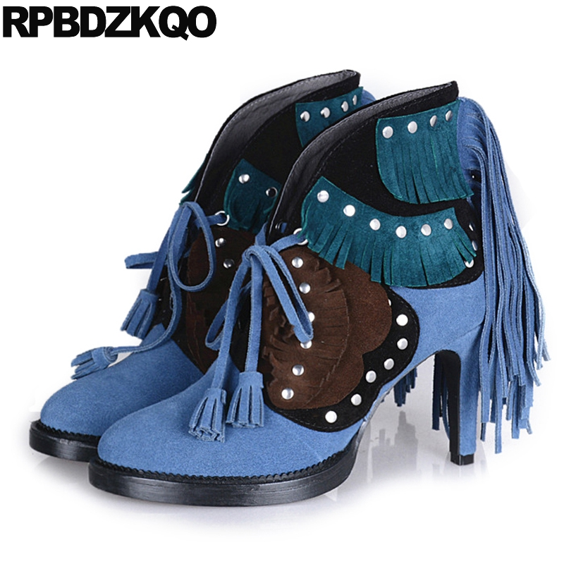 Autumn Slip On Fall Booties Fringe Women Ankle Boots 2016 Round Toe Stud Rivet Blue Shoes Genuine Leather Stiletto Brand rivet genuine leather fall booties brand women winter boots metal embellished chunky autumn brown ankle stud handmade shoes