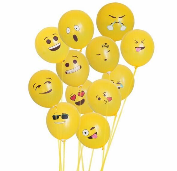20pcs /lot 12 Inch Emoji Balloons Smiley Face Expression Yellow Latex Balloons Party Wedding Ballon Cartoon Inflatable Balls