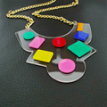 Colorful Dot cute transparent simple Laser Cut Pendant necklace jewelry