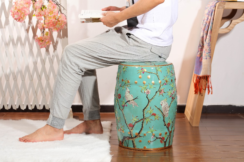 Sgabello Da Giardino In Ceramica : Vendite calde decorazione della casa blu mobili sgabello da