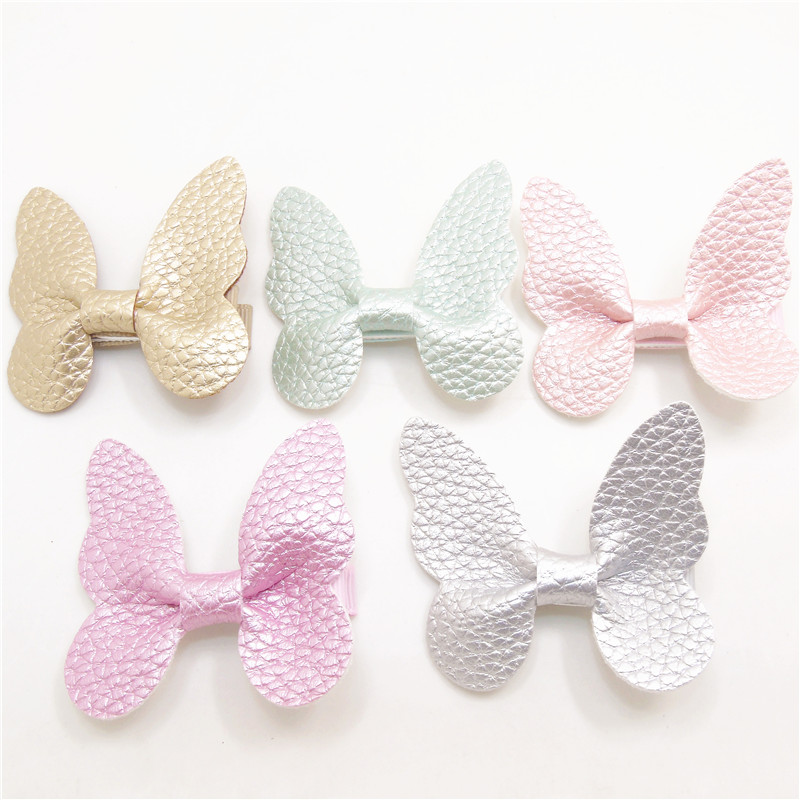 1pc 5.5cm Big Butterfly Hair Clips Artificial Leather Bow Kid Hairpin Gold Silver Girls Party Cartoon Animal Grips