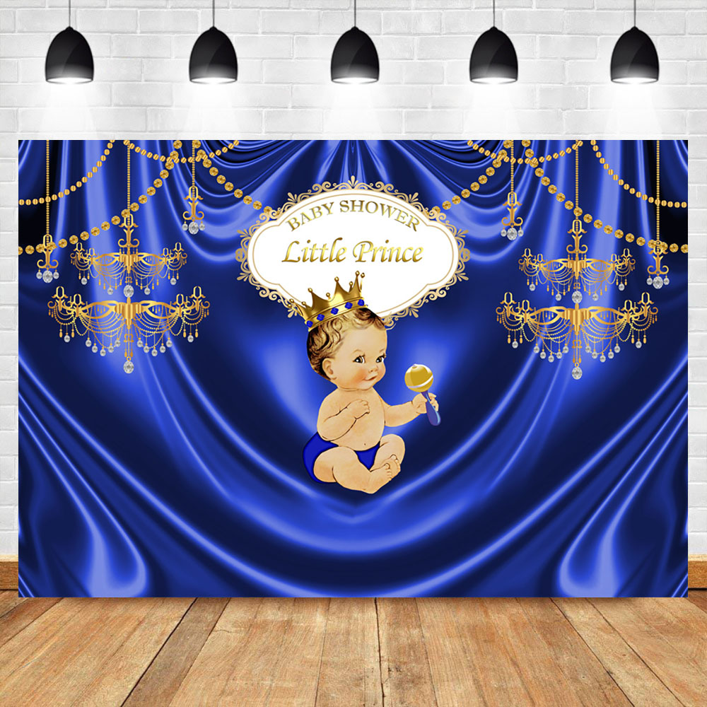 Neoback Royal Boy Baby Shower Photography Backdrop Gold Chandelier Blue Luxury Backdrops Studio Shoots