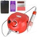 Profesional Rojo Colores Nail art Kit de Manicura del Archivo del Taladro Eléctrico 220 V Enchufe de La Ue de Uñas Herramientas de Manicura Del Taladro Del Clavo 30000 RPM
