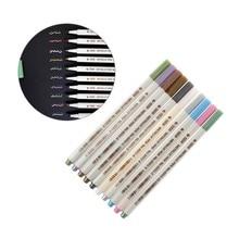 10 pçs/set Metálicas Canetas Pintura Colorida Marcador de Tinta de Marcação de Metal Decoração