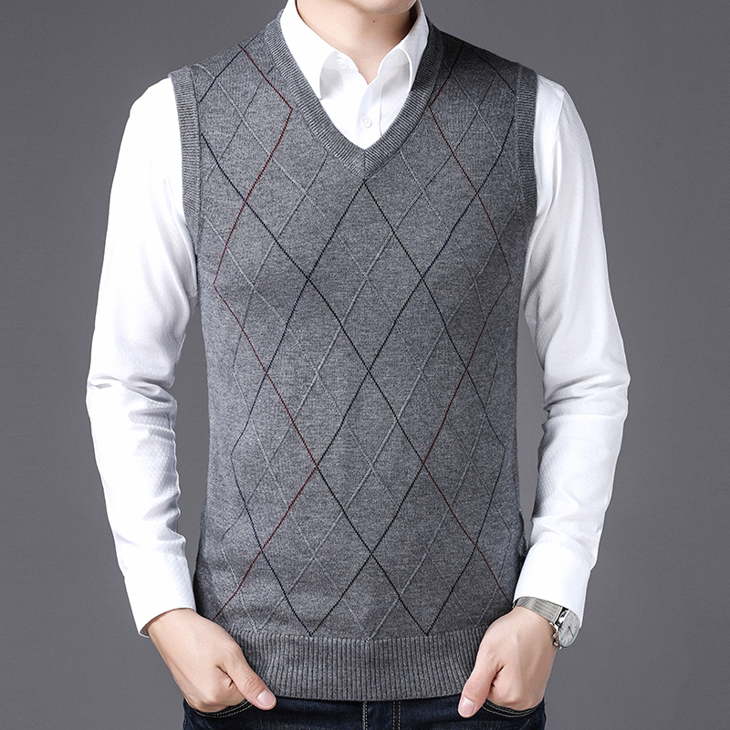 New Autumn & Spring Men's Plaid Cashmere Sweater Vest Male Casual Sleeveless Striped Wool Sweater Pullovers