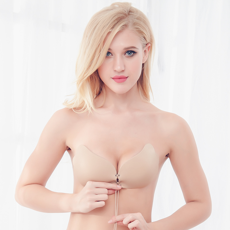 soutien gorge bralette nubra Self Adhesive Strapless Bandage Stick Gel Silicone Push Up 1/2 Cup Cotton Drawstring Invisible Bra