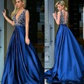 New Arrival Sexy Decote Em V Azul Vestido do Baile de finalistas 2017 Pérolas Beading longo vestido de Noite Formal Do Partido Vestidos de Cetim da Senhora Arábia Saudita M1492