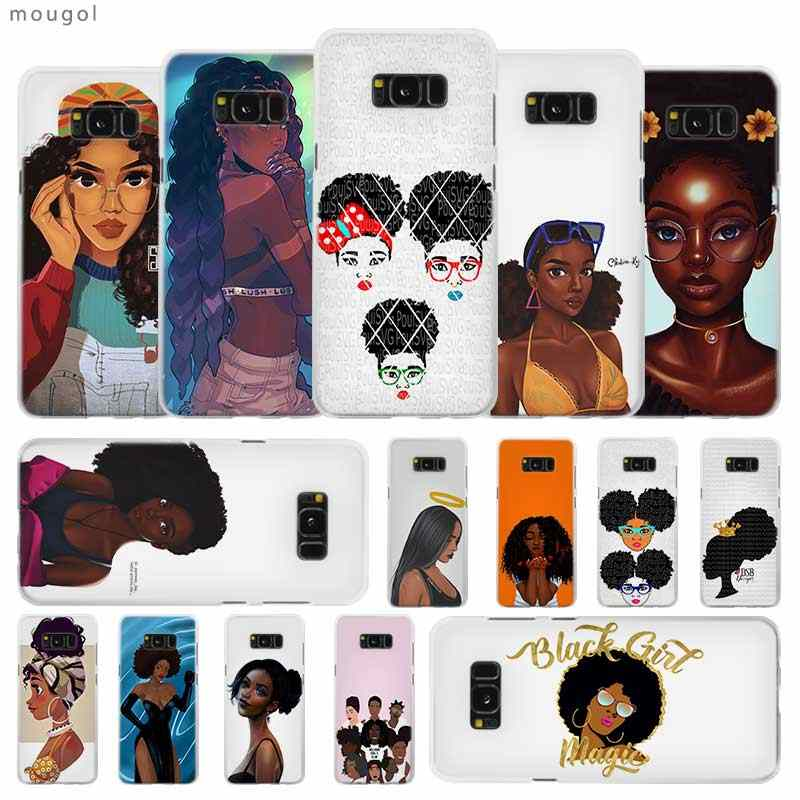 African Beauty Afro Puffs Black Girl Transparent Patterned Hard Case Cover For Samsung Galaxy S4 S5 S6 S7 S8 S9 Plus Edge Mini