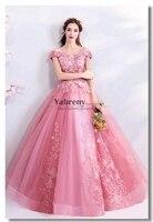 Розовые платья Quinceanera платье на выпускной