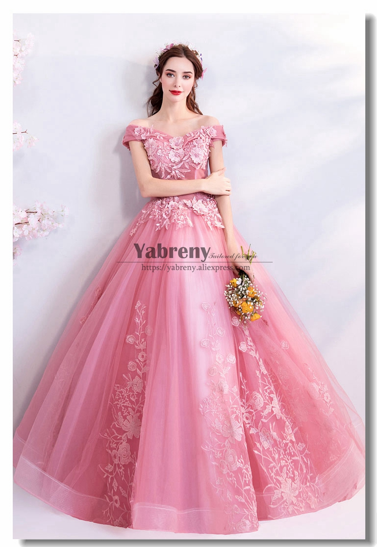 Pink Quinceanera Dresses Prom Gown