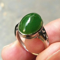 100% Natural Green HETIAN Nephrite Stone Ring Fashion Inlaid silver Finger Rings Gift for Women's Fashion Jades Jewelry