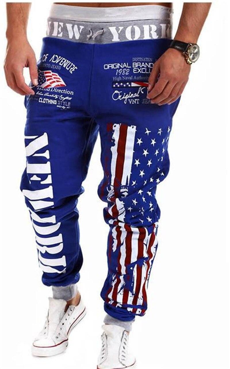 Men's Outwear Sweatpants New York American Flag Star Print Trousers Fashiom National Flag Printed Lace Pants Hip Hop Harem Pants