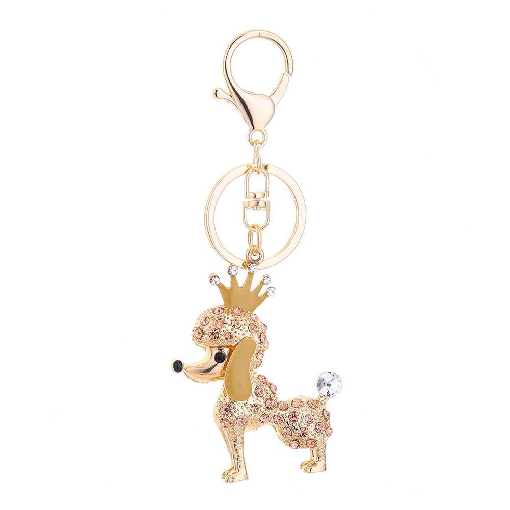 สุนัขน่ารักพวงกุญแจ Rhinestones จี้สำหรับกระเป๋า Key CX17