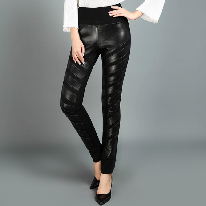 2018 Winter Fashion Women's Genuine Leather Pants High Waist Casual Sheep Skin Trousers Female Black Stretch Pencil Pants L1590