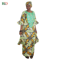 H D 2018 African Women Dress New Designer Fashion Africa Outfiting Dresses Embroidery Traditional Bazin Riche