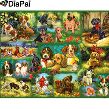 DIAPAI 100% Full Square/Round Drill 5D DIY Diamond Painting Animal dog family Embroidery Cross Stitch 3D Decor A19512