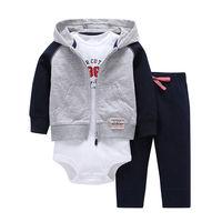 3pcs 2018 Spring Autumn Little Zipper Hoodie Jacket Bodysuit Or Vest Pants Baby Clothing Set Boy