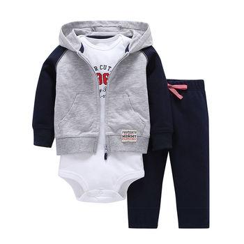 3 шт. 2019 Демисезонный маленький толстовка на молнии и боди или жилетка и штаны Одежда для малышей комплект, одежда для мальчиков и девочек ко... >> Beans Baby Store