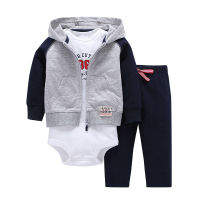 3pcs 2018 Spring Autumn Little Zipper Hoodie Jacket & Bodysuit or Vest & Pants Baby Clothing Set, Boy Girl Clothes Cardigan Set