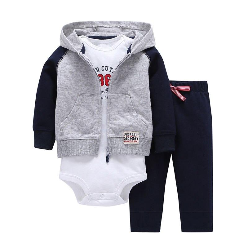3pcs 2019 Spring Autumn Little Zipper Hoodie Jacket & Bodysuit or Vest & Pants Baby Clothing Set, Boy Girl Clothes Cardigan Set