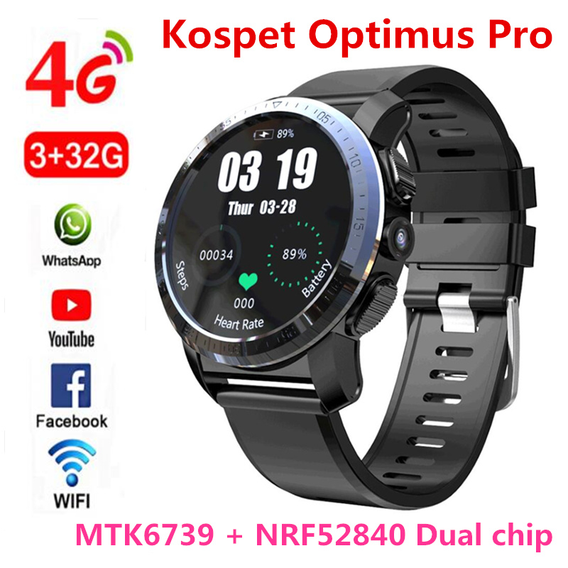 KOSPET Optimus Pro 3GB 32GB 800mAh Battery Dual Systems 4G Smart Watch Phone waterproof 8.0MP 1.39 Android7.1.1 smartwatch men