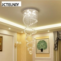 luxury crystal led lamp spiral lighting stair pendant light long pendant light