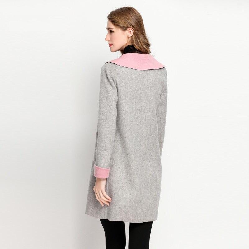 Gray Manteau Automne Chaud Du De Laine Nouvelle Europe Longue Cachemire D'hiver Des Haute amp; Veste Mode Et Dame Amérique Femmes Revers Duplex Qualité q87BrnPq