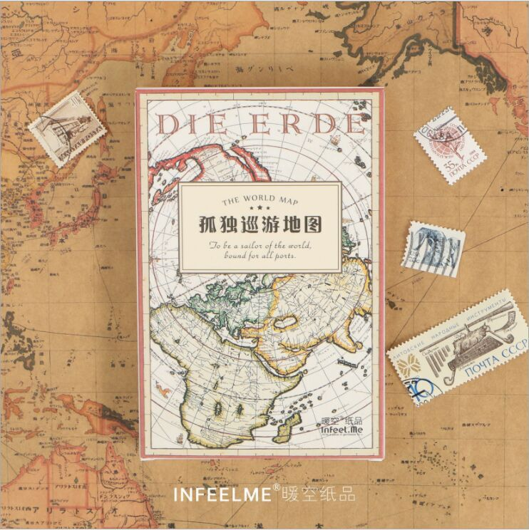30 Pcs/pack Vintage Traveling Map Greeting Card Postcard Birthday Gift Card Set Message Card Letter Envelope Gift Card Escolar