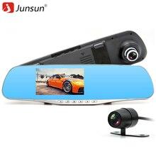 Junsun Lente Dual Del Coche Dvr Dash Cam Video Recorder Espejo Retrovisor Monitor de Aparcamiento Cámara Auto Anti espejo dvr