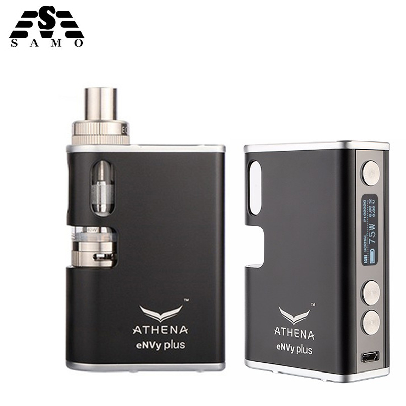 Original Athena eNVy plus 75W box mod electronic cigarette kit 510 thread temperature control replaceable battery vape vaporizer original electronic cigarette smoant charon ts 218 box mod 510 thread 18650 battery 218w vape mod electronic cigarette vaporzier