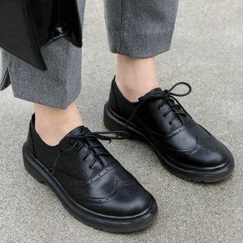 EshtonShero Women Pumps Shoes Platform Leather Woman Pumps Low Heel Lace Up Round Toe Black Classic Ladies Casual Shoe Size 3-8