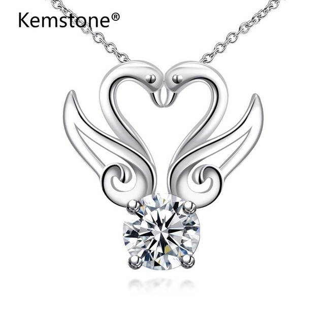 Swan Necklace ALP Kemstone Silver Color Vintage Swan Pendant Necklace for Women Heart Hollow Swan  Necklace Gift Animal Jewellery