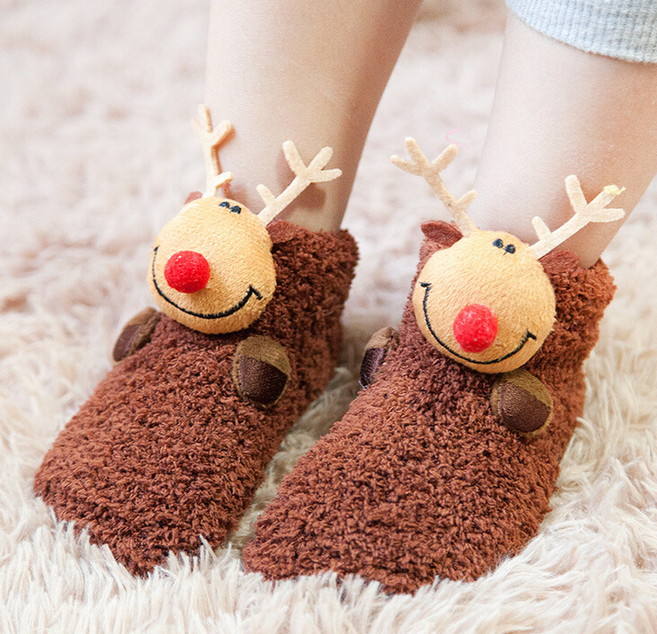 Baby Toddler Non-Slip Booties Shoes Socks Moccasins Slippers Long Baby Socks Baby Shoes 3PCS/SET Coral Cashmere