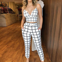 Women Two Piece Sets Summer Short Sleeveless Grid Plunge V neck Wrapped Plaid Cami Top High Waist Bodycon Ankle length Pants