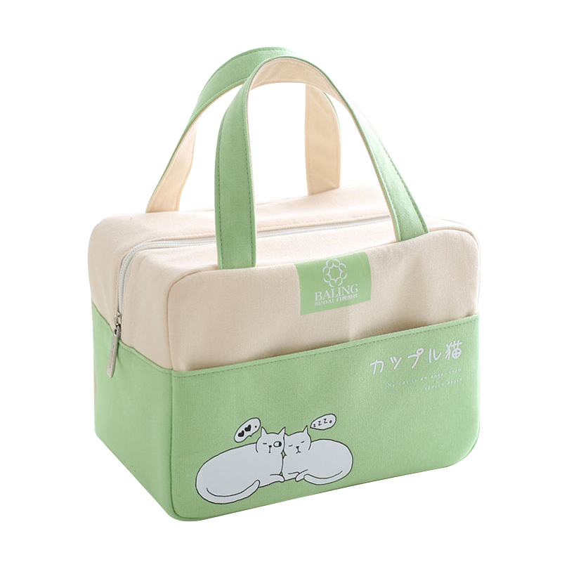 Cartoon Canvas Lunch Bags Food Container Thermal Insulated Cooler Tote Children Portable Bento Picnic Box Accessories Gear Stuff shoulder lunch bag tote women kids thermal insulated cooler storage picnic food drink bento box accessory supply products stuff