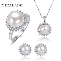 YIKALAISI 2017 Pearl Jewelry Sets Natural Freshwater Pearls Necklace Earrings 925 sterling Silver Jewelry Pendants For Women